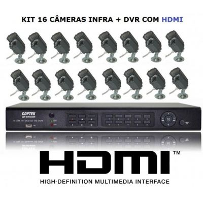 - kit CFTV 1 DVR Stand Alone 16 mais 16 Cameras digital