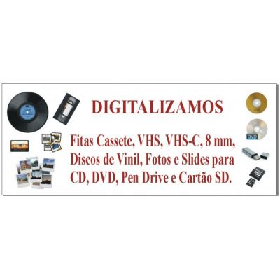 Digitalização de Slides, Disco de Vinil, fitas K7, VHS-C, Super 8 para CD ou DVD.
