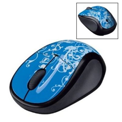 Logitech V220 Cordless Optical mouse para notebooks (Blue Flourish)